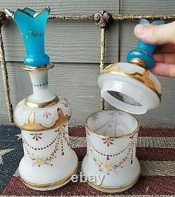 Antique Victorian Hand Blown Bristol Glass Dresser Jar & Perfume Bottle Stopper