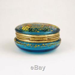Antique Victorian Hand Painted Enamel Blue Glass Box Dresser Vanity Patch Snuff