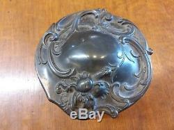 Antique Victorian Heavy Glass Humidor Art Nouveau Lid Orig Sponge Cigar Bar EXC