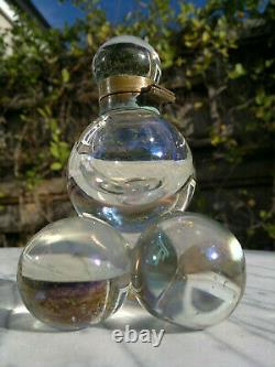 Antique Victorian Iridescent Glass Soap Bubble Inkwell Bohemian 5 Tall