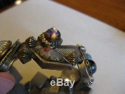 Antique Victorian Mesh Bracelet with Sliders Molded Glass, Art Glass, Bee, Snake