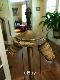 Antique Victorian Miller Handel B&h Style Slag Glass Lamp Base Ornate Art Roses