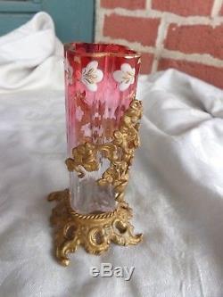 Antique Victorian Moser Cranberry To Clear Enamel Floral Vase Gold Gilt Holder