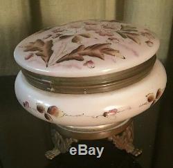 Antique Victorian Moser Opaline Glass Enameled Box Casket Ormolu Mounted c. 1900