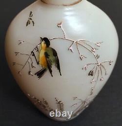 Antique Victorian Mt. Washington Cased Glass Hand Painted Vase Goldfinch Bird