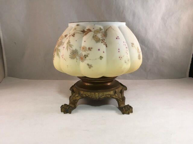 Antique Victorian Mt Washington Glass Melon Ribbed Crown Milano Oil Lamp Base