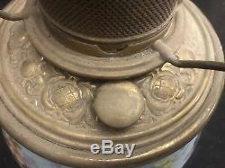 Antique Victorian Mt Washington Hand Painted Satin Glass Kero Oil Parlor Lamp