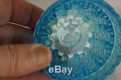 Antique Victorian Nailsea English Art Glass Blown Blue White 2 Piece Fairy Lamp