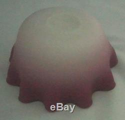 Antique Victorian New England Glass Peach Blow Art Glass Ruffled Rim Bowl