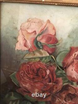Antique Victorian Oil Painting Red Roses On Glass Signed Wood Frame #14