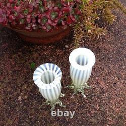 Antique Victorian, Pair of Glass Vases Vaseline Art Glass circa 1880