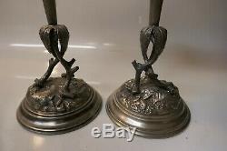 Antique Victorian Pair of Spelter Metal & Hand Blown Art Glass Bud Trumpet Vase