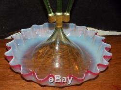 Antique Victorian Rubina Verde Opalescent Art Glass Epergne