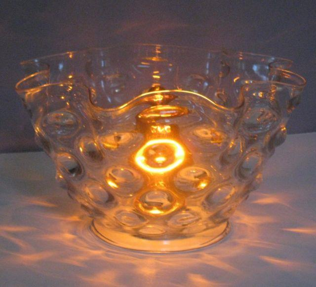Antique Victorian Ruffle Clear Hobnail Artglass Shade Oil Kerosene Gas Electric