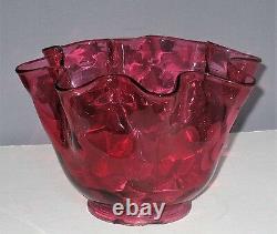 Antique Victorian Ruffled Cranberry Art Glass Shade Oil Kerosene Gas Electric