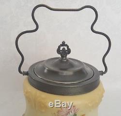 Antique Victorian Satin Finish Art Glass Biscuit Jar by Mt. Washington Rochester