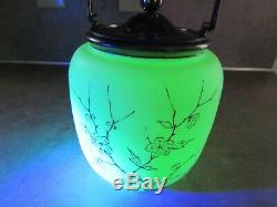 Antique Victorian Satin Glass Biscuit Jar White/purple Floral Mt Washington