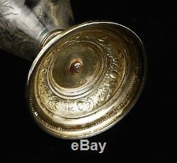 Antique Victorian Silver Plate Figural Etched Glass Art Nouveau Ewer Claret Jug