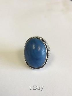 Antique Victorian Sterling Silver Blue Art Glass Stone Carved Solitaire Ring