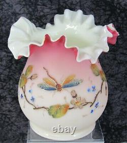 Antique Victorian Thomas Webb Peachblow English Blown Glass Vase withDragonfly