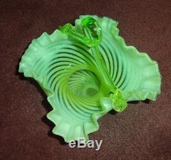 Antique Victorian Vaseline Opalescent Optic Swirl Spiral Art Glass Basket