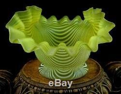 Antique Victorian Venetian Threaded or NAILSEA Art Glass Bowl Vase Phoenix Era