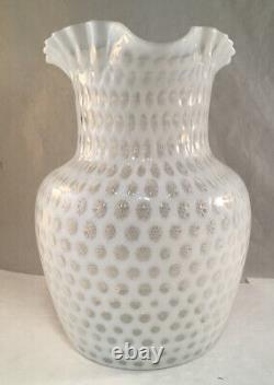 Antique Victorian White Opalescent Art Glass Pitcher Hobbs 333 Windows Pattern