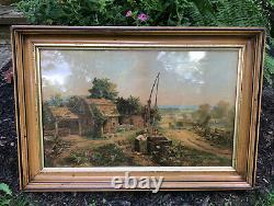 Antique Victorian Wood Frame WAVY GLASS 1800s Chromolithograph Bencke & Scott