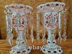 Antique Victorian bohemian mantle luster pair