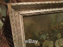Antique Victorian oil painting on glass of roses in early frame chippy garden
