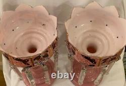 Antique Victorian pair of pink glass lusters with white cased interiors and pris