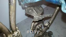 Antique Victorian silver plated two bowl butterflies epergne blue glass 1890s