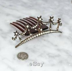 Antique Vintage Paste Star Tiara with Hinged Comb Victorian Edwardian Art Nouveau