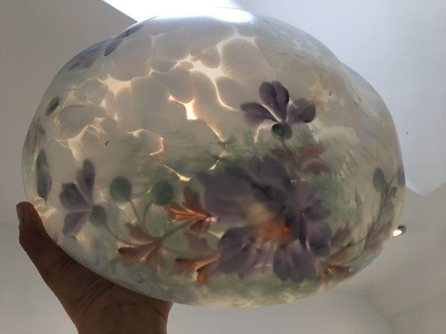 Antique Vintage Victorian Art Deco Floral Glass Ceiling Shade Light Chandelier