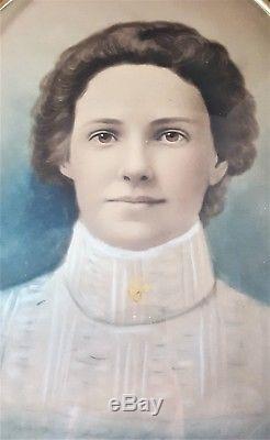 Antique Vintage Victorian BRASS Framed CHALK PASTEL Lady Portrait CURVED GLASS