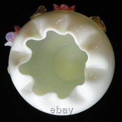 Antique / Vintage Victorian Large Custard Vaseline Art Glass Rose Bowl / Vase