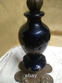 Antique Vtg Art Deco Nouveau Victorian Lamp Ornate Brass Flowers rare glass U-R