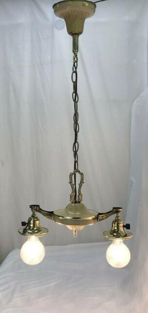 Antique Vtg Chandelier Arts Crafts Deco Victorian Hanging Pan Light Brass 2 Arm