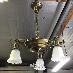 Antique Vtg Chandelier Arts Crafts Deco Victorian Hanging Pan Light Brass, Glass