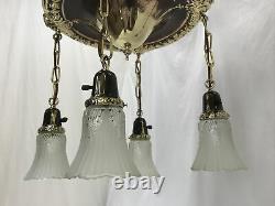 Antique Vtg Chandelier Arts Crafts Deco Victorian Hanging Pan Light Brass Glass