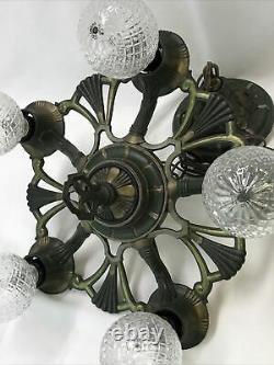 Antique Vtg Chandelier Victorian Arts & Crafts Deco Hanging Light 20s Green Gold