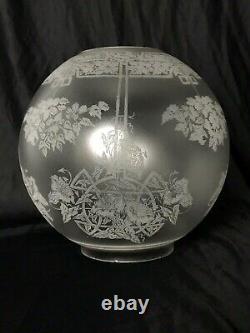 Antique Vtg Etched Glass Ball Oil Lamp Shade Art Deco Nouveau Victorian GWTW 4