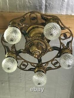 Antique Vtg Semi Flush Mount Chandelier Victorian Arts & Crafts Deco Green Gold