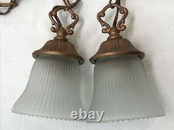 Antique Vtg Style PAIR Victorian Arts Crafts Deco Hanging Pendant Light'Copper