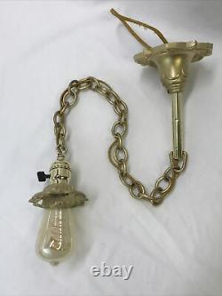 Antique Vtg Victorian Art Deco Pendant Light Ceiling Hanging 1920's Gold, Chain