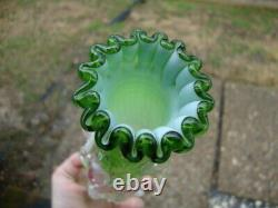 Antique Vtg Victorian Green Opalescent Glass Vase Pink Applied Rigaree Cased