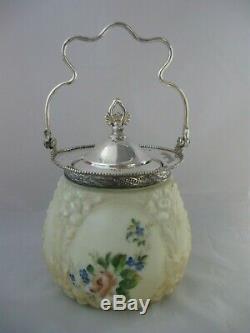 Antique Wave Crest Biscuit Cracker Jar Victorian Molded Art Glass CF Monroe