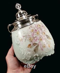 Antique Wave Crest Wavecrest Art Glass Biscuit Jar Shiny LID Flowers Decoration