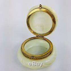 Antique Wavecrest CF Monroe Opaline Glass Helmschmied Swirl Trinket Box