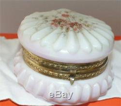 Antique Wavecrest puffy Powder Box hinged victorian hand painted glass